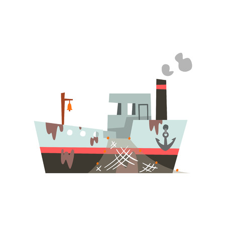 Fishing vessel with net for seafood production, retro marine steamer vector Illustration isolated on a white background.