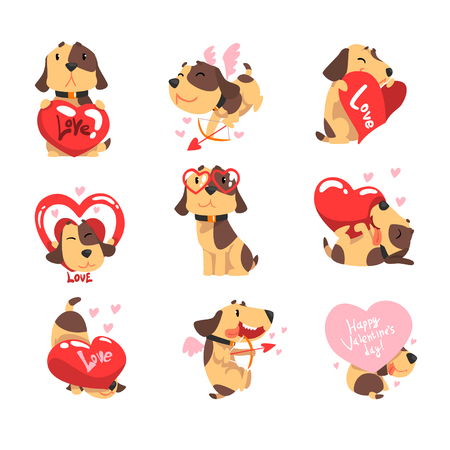 Funny Jack Russell Terrier dog with hearts set, cute Valentine animal character vector Illustration Illustration