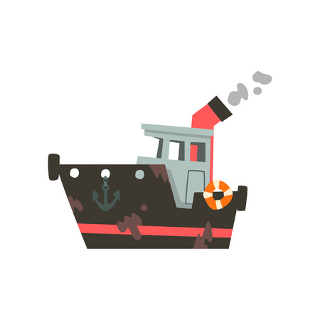 Fishing industrial trawler for seafood production, retro marine ship vector Illustration isolated on a white background.