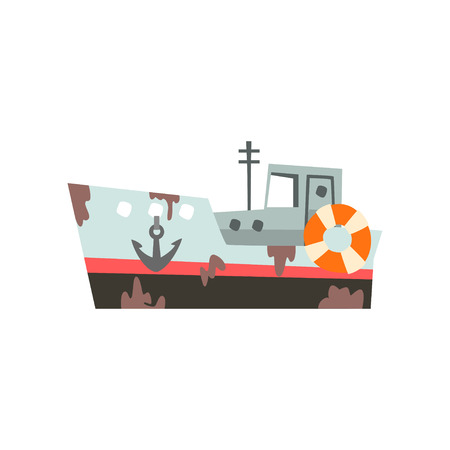 Fishing vessel, industrial trawler for seafood production, vintage marine ship vector Illustration isolated on a white background.  イラスト・ベクター素材