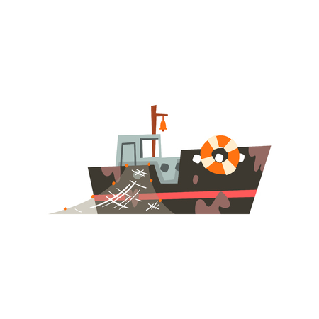 Fishing boat with net, industrial trawler for seafood production, retro marine ship vector Illustration isolated on a white background.