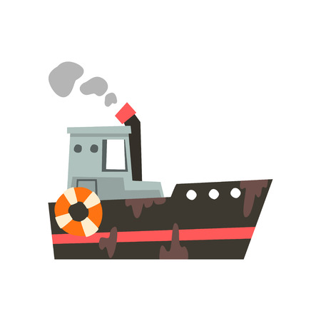 Fishing vessel, ship for seafood production, retro marine steamer vector Illustration isolated on a white background.