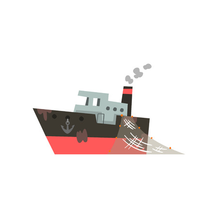 Fishing boat, industrial trawler for seafood production vector Illustration isolated on a white background.