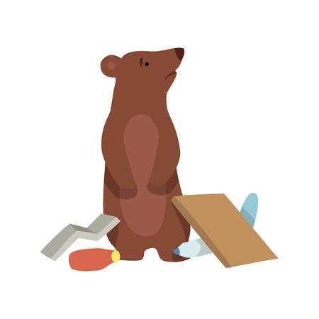 Residuos de oso y plástico, problema ambiental global, desastre ecológico vector ilustración aislada sobre fondo blanco.