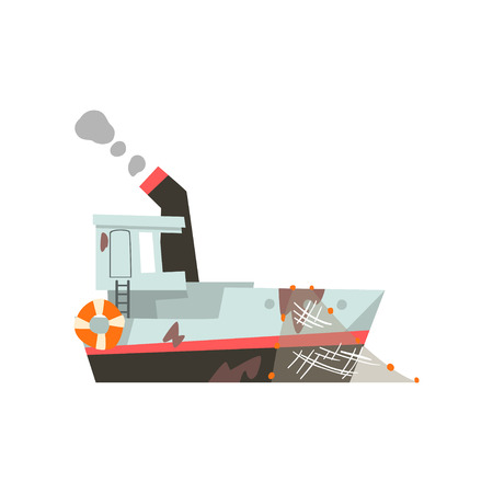 Fishing trawler, vessel for industrial seafood production, retro marine ship vector Illustration isolated on a white background.