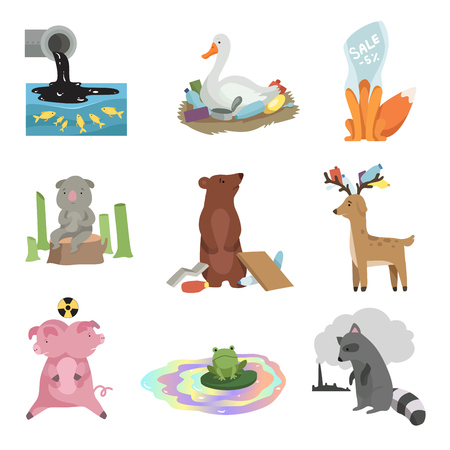Global environmental problems set, pollution of water, earth, deforestation, destruction of animals, ecological disasters vector Illustration isolated on a white background.