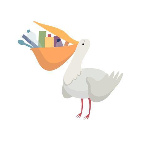 Pelícano con basura plástica en su pico, problema ambiental global, desastre ecológico vector ilustración aislada sobre fondo blanco. Ilustración de vector