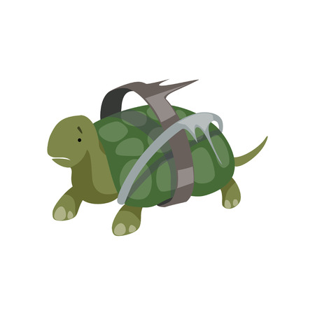 Turtle in plastic waste, global environmental problem, ecological disaster vector Illustration isolated on a white background.