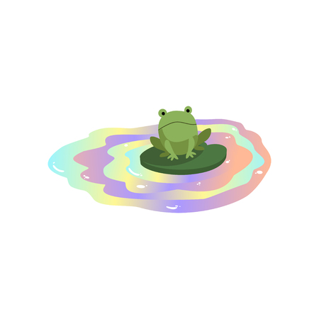 Frog floating in polluted water, global environmental problem, ecological disaster vector Illustration isolated on a white background.