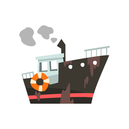 Industrial trawler for seafood production, fishing vessel, retro marine steamer vector Illustration isolated on a white background.
