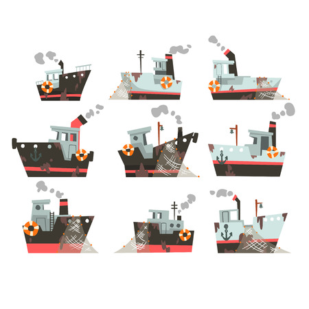 Collection of fishing boats, trawlers for industrial seafood production, retro marine steamers vector Illustration isolated on a white background.