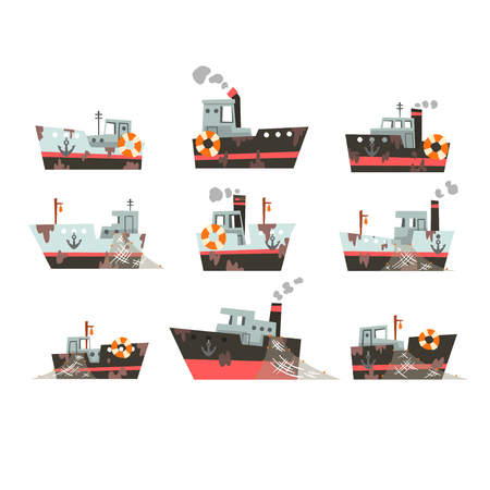 Collection of fishing vessels, trawlers for industrial seafood production, retro marine steamers vector Illustration isolated on a white background. Standard-Bild - 123534479