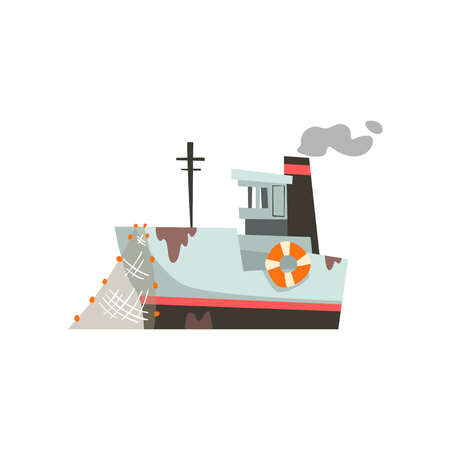 Fishing boat, industrial trawler for seafood production, retro marine ship vector Illustration isolated on a white background.