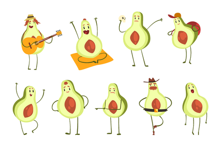 Avocado cartoon characters set, emotional avocados in different situations vector Illustration isolated on a white background. Illustration