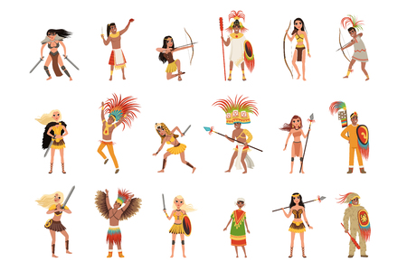 Aztec warriors set, men in traditional clothes and headgear with weapon vector Illustrations isolated on a white background.