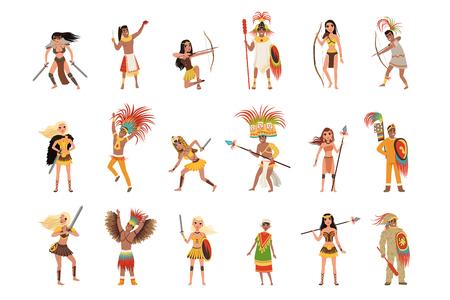 Aztekenkrieger eingestellt, Männer in traditioneller Kleidung und Kopfbedeckungen mit Waffenvektorillustrationen lokalisiert auf einem weißen Hintergrund.