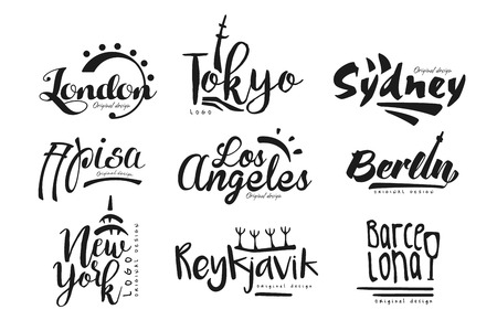 Names of cities, London, Tokyo, Sydney, Pisa, Los Angeles, Berlin, New York, Reykjavik, Barcelona, city lettering design hand drawn vector Illustration