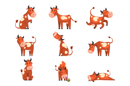 Brown spotted cow set, farm animal character in various poses vector Illustrations isolated on a white background.