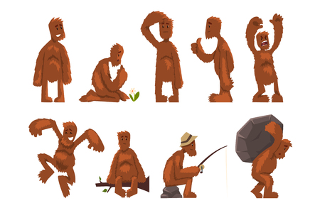 Divertido juego de personajes de dibujos animados de bigfoot, criatura mítica en diferentes situaciones vector ilustraciones aisladas sobre fondo blanco. Ilustración de vector