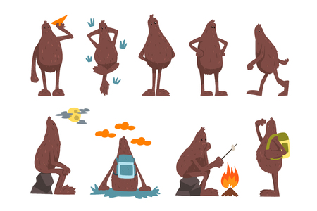 Bigfoot cartoon character set, funny mythical creature in different situations vector Illustrations isolated on a white background.