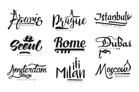 Names of cities, Paris, Prague, Istanbul, Seoul, Rome, Dubai, Amsterdam, Milan, Moscow, city lettering design hand drawn vector Illustration Иллюстрация