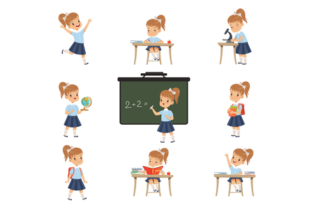 Cute schoolgirl student in uniform in various activities set, girl at lessons of biology, geography, mathematics vector Illustrations isolated on a white background.
