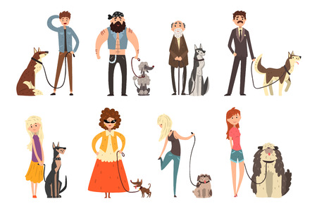 People walking with their dogs set, owners and their pets vector Illustration isolated on a white background.