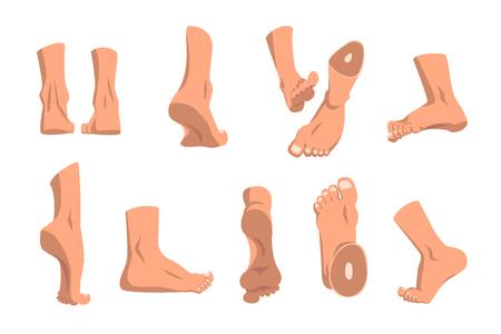 Piede umano in varie posizioni impostate, diversi punti di vista dei piedi maschili illustrazioni vettoriali su sfondo bianco Vettoriali