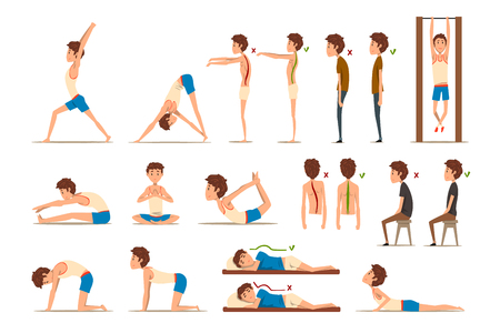 Teen boy doing exercises set, correct and wrong spine posture, rehabilitation exercise for back pain and improving posture vector Illustrations isolated on a white background. Illustration