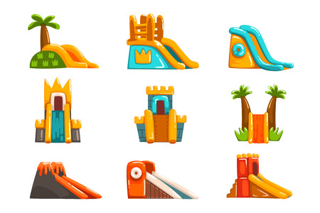 Inflatable slides set, summer amusement park bouncy equipment vector Illustrations on a white background Ilustracja