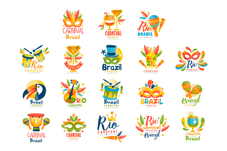 Brazilian Carnival logo design set, bright fest.ive party banners vector Illustration on a white background Vettoriali