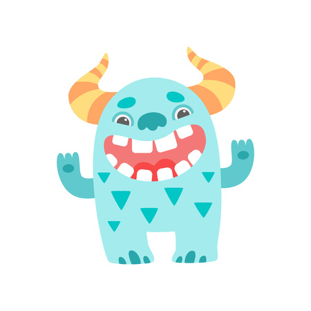 Cute Smiling Toothy Monster with Horns, Friendly Funny Alien Cartoon  Character Vector Illustration