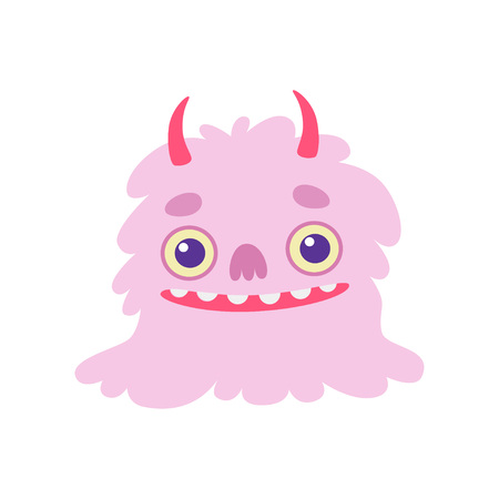 Cute Smiling Toothy Monster with Horns, Pink Fluffy Friendly Alien Cartoon Character Vector Illustration on White Background.