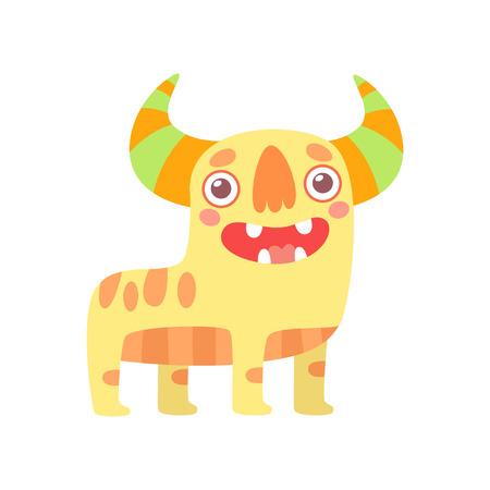Cute Friendly Monster, Funny Horned Alien Cartoon Character Vector Illustration