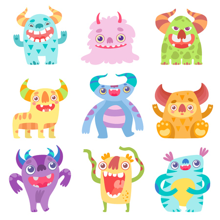 Cute Smiling Toothy Monsters, Friendly Funny Colorful Aliens Cartoon Characters Vector Illustration on White Background.