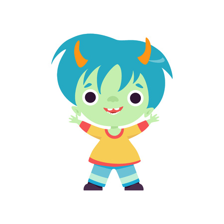 Smiling Horned Troll Boy, Cute Fantasy Creature Character with Blue Hair Vector Illustration on White Background.