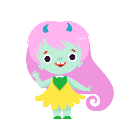 Cute Smiling Horned Troll Girl, Happy Fantasy Creature Character with Long Pink Hair Vector Illustration on White Background. Illustration