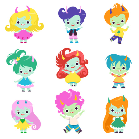 Cute Happy Smiling Horned Trolls Boys and Girls Set, Adorable Fantasy Creatures Characters with Colored Hair Vector Illustration on White Background.