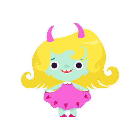Cute Horned Troll Girl, Adorable Smiling Fantasy Creature Character with Yellow Hair Vector Illustration on White Background. Illustration