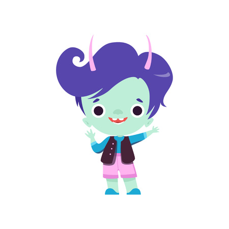 Cute Horned Troll Boy, Adorable Smiling Fantasy Creature Character with Blue Hair Vector Illustration on White Background. Stock Illustratie