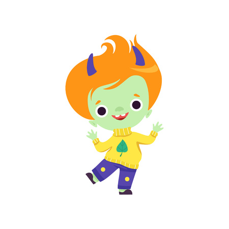 Cute Horned Troll Boy, Adorable Happy Fantasy Creature Character with Red Hair Vector Illustration