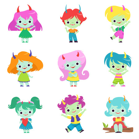 Cute Horned Trolls Boys and Girls Set, Adorable Smiling Fantasy Creatures Characters with Colored Hair Vector Illustration on White Background.