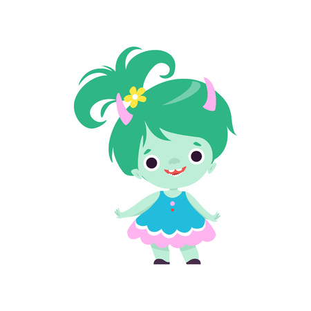 Cute Horned Troll Girl, Adorable Smiling Fantasy Creature Character with Green Hair Vector Illustration on White Background. Illustration