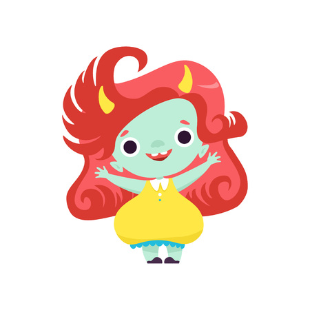 Cute Smiling Horned Troll Girl, Happy Adorable Fantasy Creature Character with Red Hair Vector Illustration