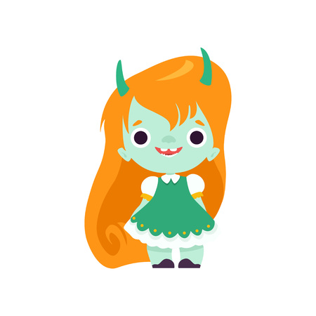 Cute Horned Troll Girl, Adorable Smiling Fantasy Creature Character with Long Orange Hair Vector Illustration on White Background.