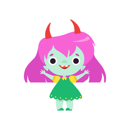 Cute Horned Troll Girl, Happy Smiling Fantasy Creature Character with Colored Hair Vector Illustration on White Background.