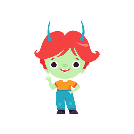 Cute Horned Troll Boy, Happy Fantasy Creature Character with Colored Hair Vector Illustration Stockfoto - 121160685