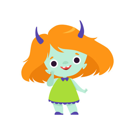 Cute Horned Troll Girl, Adorable Smiling Fantasy Creature Character with Orange Hair Vector Illustration on White Background. Illustration