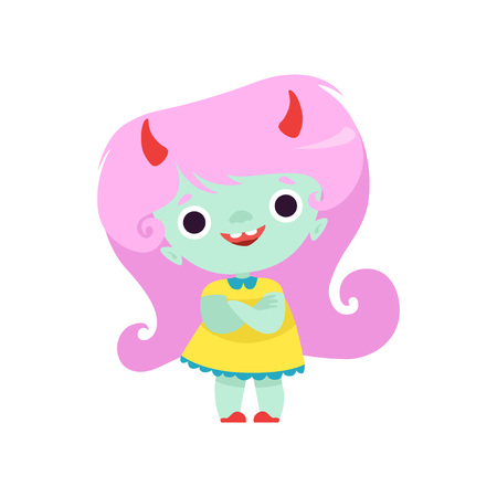Happy Horned Troll Girl, Cute Fantasy Creature Character with Long Pink Hair Vector Illustration