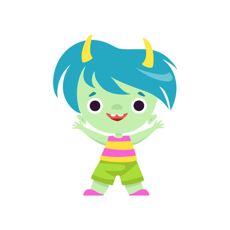 Cute Horned Troll Boy, Happy Adorable Fantasy Creature Character with Colored Hair Vector Illustration on White Background.